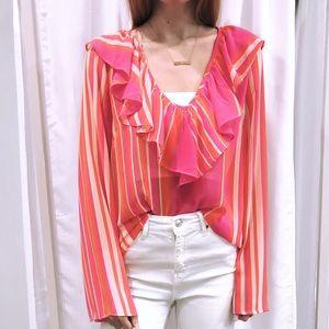 Stripe sheer blouse BNWT